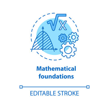Mathematical foundations blue concept icon. Calculations base idea thin line illustration. Combination of numbers. Arithmetic and numerical system. Vector isolated outline drawing. Editable stroke