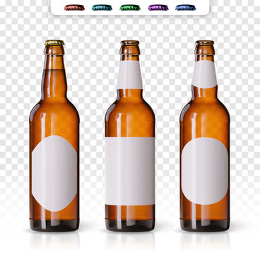 Wheat beer ads, realistic vector beer bottle with attractive beer and ingredients on background. Bottle beer brand concept on backgrounds, with different mock ups and caps. Set of bottles