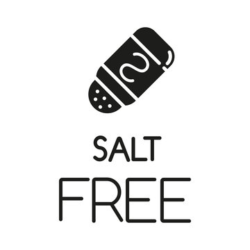 Salt free glyph icon. Organic food without sodium, sulfates. Product free ingredient. Nutritious dietary. Personal healthcare. Silhouette symbol. Negative space. Vector isolated illustration