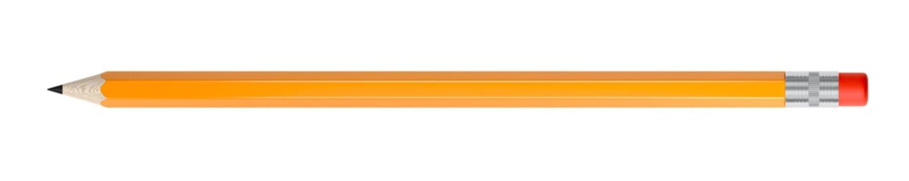 Orange pencil isolated on white background. Eraser. 3d illustration.