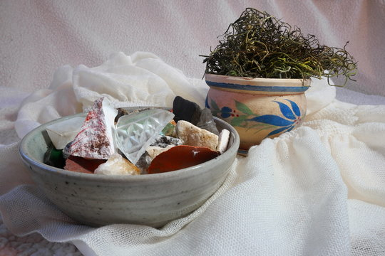 Arrangement of Moss, Found Objects, and Pottery