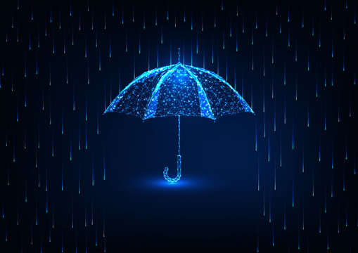 Futuristic protection concept with glow low poly umbrella and rain shower on dark blue background.