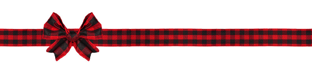 Spoed Fotobehang Buffel Red and black buffalo plaid Christmas gift bow and ribbon. Long border isolated on a white background.