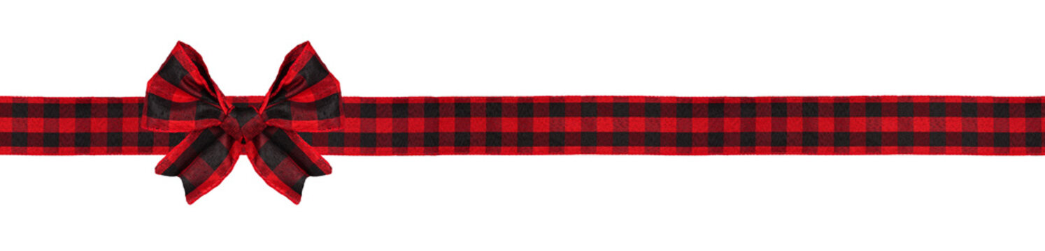 Red and black buffalo plaid Christmas gift bow and ribbon. Long border isolated on a white background.