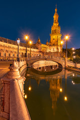 Spanish Square in Seville at night, Spain.