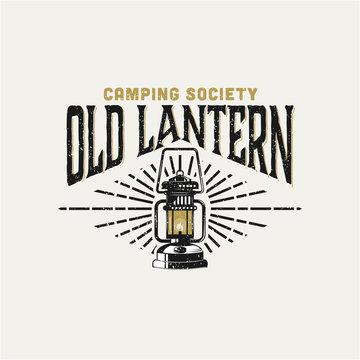 Old lantern badge logo design inspiration for camping. Lantern logo design