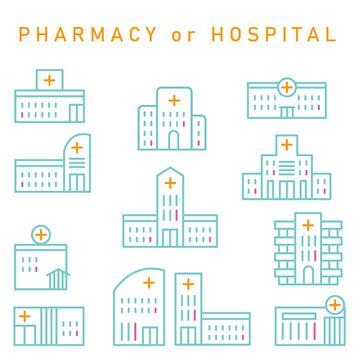 3色の線画の薬局または病院