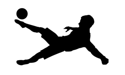 Soccer.Football player action. Abstract vector illustration of football player silhouette