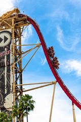 Rollercoaster at Universal Studions Orlando Florida, USA. Travel Illustrative Editorial Image.