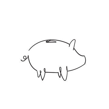 Piggy Bank icon design template with hand drawn continuous line style vector