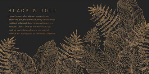 Black and Gold Leaves Background Pattern
