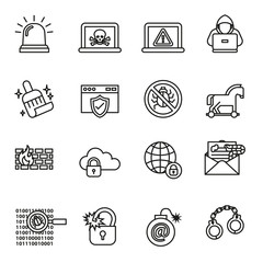 data, computer and cyber security icon set with white background. Thin Line Style stock vector.