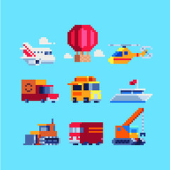 Different transport pixel art icons set balloon, airplane, helicopter, van, liner, crane, tractor isolated vector illustration. Logo transport company. Game assets. Design for sticker, logo, app.