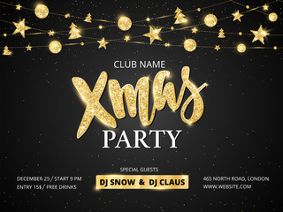 Wall Mural - Christmas party poster template. Golden ornaments decoration.