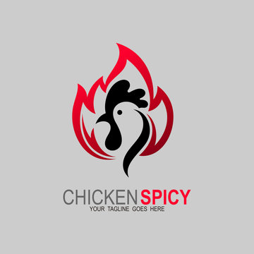 Chicken logo and fire design combination