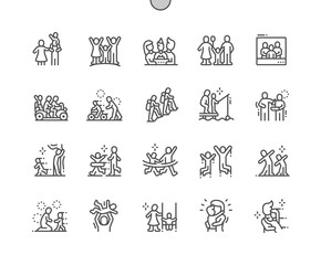 Family Values Well-crafted Pixel Perfect Vector Thin Line Icons 30 2x Grid for Web Graphics and Apps. Simple Minimal Pictogram