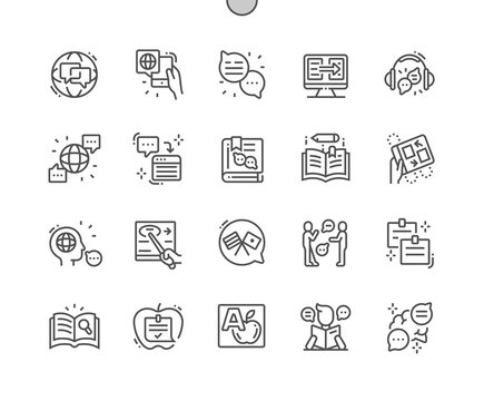 Studying of foreign language Well-crafted Pixel Perfect Vector Thin Line Icons 30 2x Grid for Web Graphics and Apps. Simple Minimal Pictogram