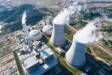 aerial view of modern power plant