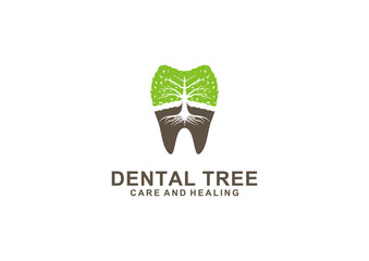 Vector logo of a tree and teeth as a symbol of dental health