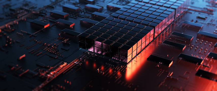 Printed circuit board futuristic server/Circuit board futuristic server code processing. Orange,  red, blue technology background with bokeh. 3d rendering