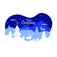 Merry christmas illustration background wallpaper design with snowfall, tree, and deer shape. Vector drawing greeting for social media post with winter season theme.