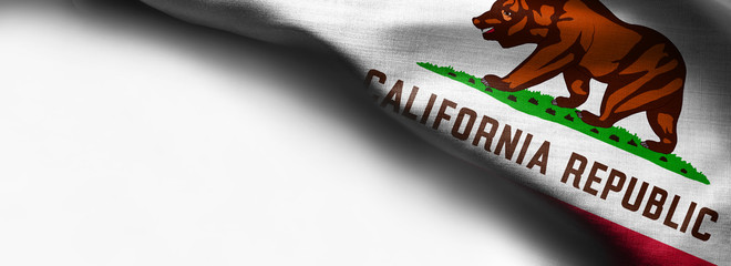 Fabric texture of the California Flag - flag on white background - right top corner - free copy space