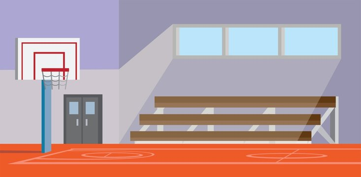 school gymnasium basketball court cartoon flat illustration vector