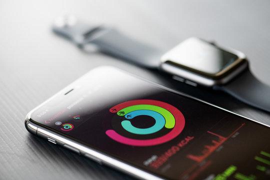 NOVA BANA, SLOVAKIA - NOV 12, 2019: New Apple Watch Series 5 and iPhone 11 Pro smartphone.