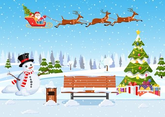 Photo sur Plexiglas snowy winter city park with Christmas trees, bench, snowman Winter Christmas landscape for banner, poster, web. Santa Claus riding on sleigh. Vector illustration in flat style