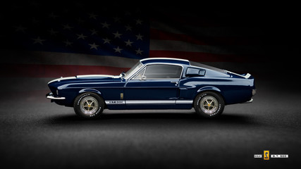 Cagliari, Italy 26/02/2019; Ford Mustang Shelby GT500 1967 lateral view, with white stripes and American Flag on background. Illustrative image of classic  american muscle car.