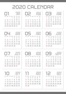2020年 シンプルなカレンダー