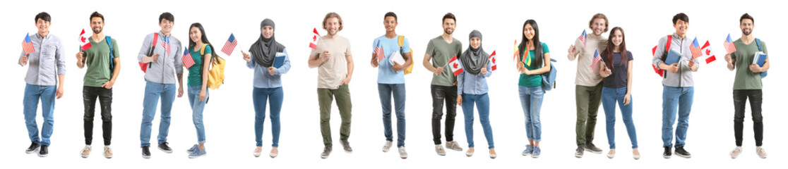 Set with immigrants to different countries on white background