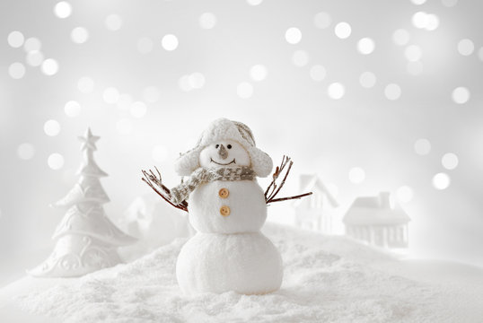 christmas snowman on the snow