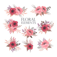 Flower clip art backgrounds - red and pink flowers