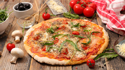 pizza with tomato sauce, cheese and mushroom