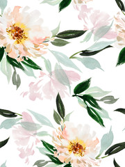 Seamless watercolor pattern with peonies on a white background.