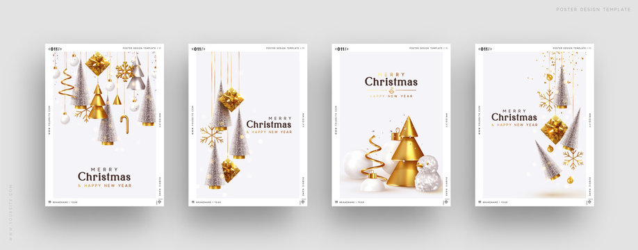 Christmas set of backgrounds, greeting cards, web posters, holiday covers. Design with realistic New Year's eve, Christmas trees and gifts box. Xmas templates party banner. Festive composition