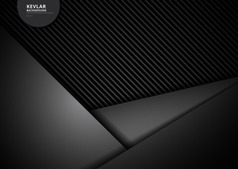Template black geometric triangles overlapping carbon kevlar fiber background and texture.