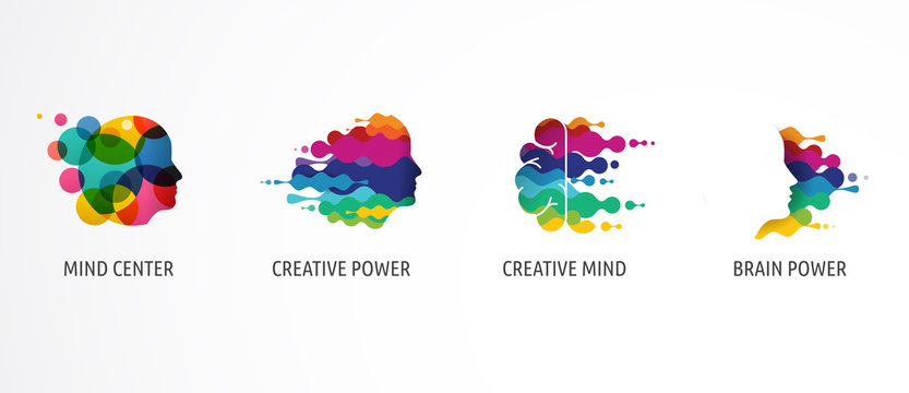 Brain, Creative mind, learning and design icons, logos. Man head, people symbols