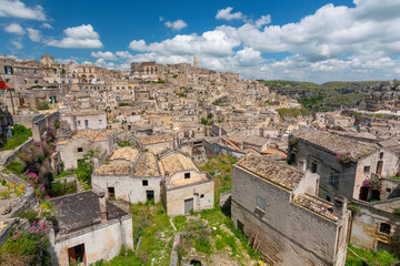 Panoramic view to the town of Matera in Italy with historic buildings, Apulia, Italy.