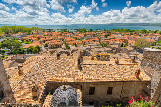 A view from the Castle in Bolsena on the olt town and Bolsena lake, Italy.