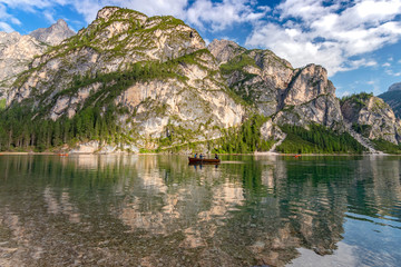 Lake Braies (also known as Pragser Wildsee or Lago di Braies) in Dolomites Mountains, Sudtirol, Italy.