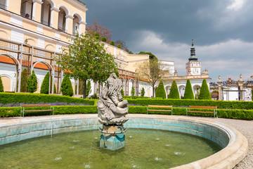 Fountain in Mikulov Castle in the town of Mikulov in South Moravia, Czech Republic.