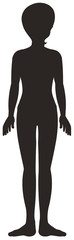 Silhouette human body on white background