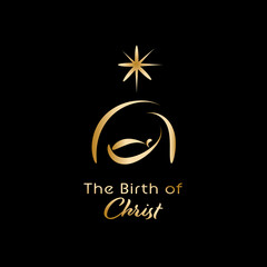 Christmas time. Manger with baby Jesus and star of Bethlehem. Text : The Birth of Christ