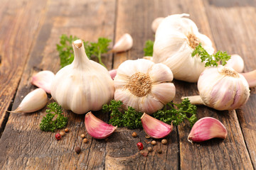 garlic clove with herb and pepper Wall mural