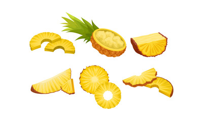 Pineapple Cut In Different Shapes. Mashed Fruit Vector Illustration Set Isolated On White Background