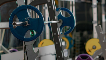 sports equipment in gym