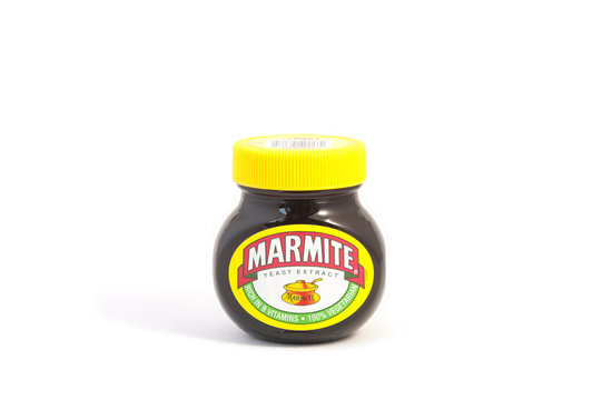 Jar of Marmite yeast extract made by Unilever, a Dutch-British consumer goods company. Marmite was first produced in 1902 and is a byproduct of beer making.