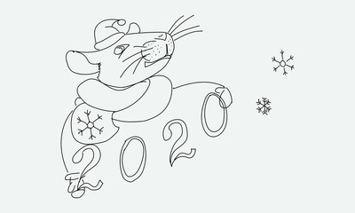 A mouse in a Santa suit holds the numbers 2020. A symbol of the New Year.